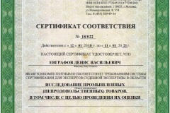 """Евграфов Д.В. - Сертификат соответствия (""""Исследование промышленных (непродовольственных) товаров, в том числе с целью проведения их оценки"""")"""