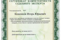 """Коненков И.Ю. - Сертификат компетентности судебного эксперта (""""Исследование промышленных (непродовольственных) товаров, в том числе с целью проведения их оценки"""")"""